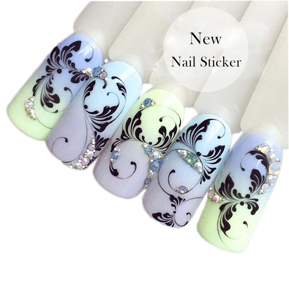 1 Sheets Black Vine New Beauty Nail Art Water Transfer Sticker Tips Watermark Temporary Tattoos DIY Nail Decals TRSTZ655-teefury