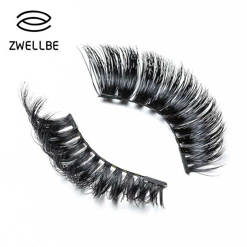 zwellbe 4 Pcs/Pairs 3D Magnetic False Fake Eyelashes ORIGINAL LASH Eye Makeup Accessories Magnet Eye Lashes Extension-teefury