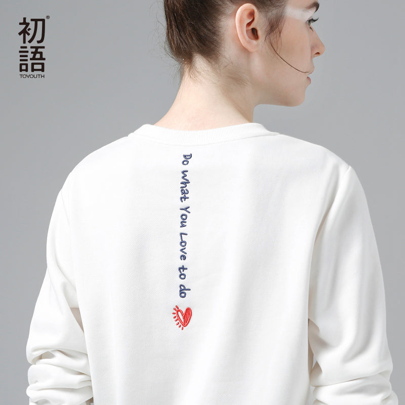 Toyouth White Sweatshirts Hoodie Women 2018 Letter Embroidery Long Sleeve Tracksuit Female Casual Basic Pullovers Tops-teefury