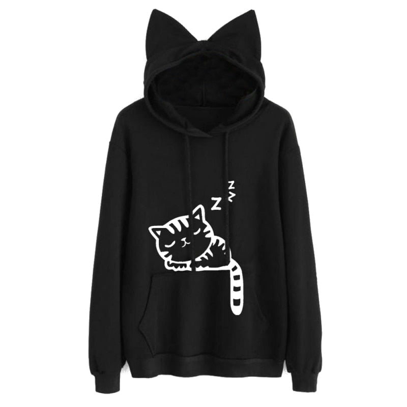 Womens Cat Printed Long Sleeve Hoodies Pullovers Fashion Cat Ear Hooded Sweatshirts Tops-teefury