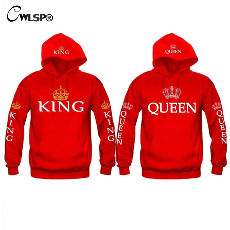 CWLSP King Queen Sweatshirt Hoodies Men Women Casual Crown Print Pullovers Tops Front Pocket couple clothessudadera mujer QA1581-teefury