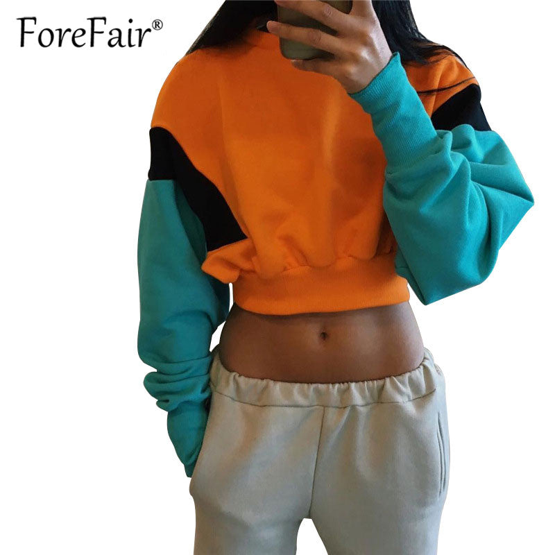 Forefair Casual Hoodies Women Sweatshirt 2018 Autumn Patchwork Long Sleeve Short Pullover Hoodie Ladies Tracksuits Sportswear-teefury