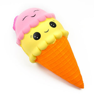 Squishy Double Smiley Ice Cream Kawaii Squishies Slow Rising Soft Squeeze Relieve Pressure Squishy Bread Toys Phone Decor Gifts-teefury