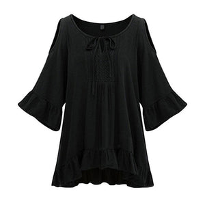 Plus Size Women Blouse Casual Summer Loose Long Sleeve Casual Shirt Tops Blouse L-5XL-teefury
