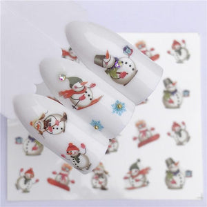 ZKO Colorful Mixed Christmas Snow Nail Sticker Water Transfer Full Wraps Manicure Tips Decals Nail Xmas Glitter-teefury