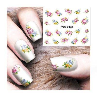 ZKO 1 Sheet Optional Water Decal Nail Art Water Transfer Gothic Blooming Flower Sticker Stamping For Nails Art Stamp-teefury