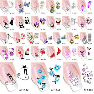 ZKO 1 Sheet Optional Flower Bows Cat Etc Water Transfer Sticker Nail Art Decals Nails Wraps Temporary Tattoos Watermark Tools-teefury