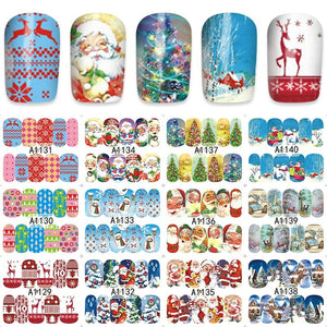 ZKO 48 Sheets Christmas Mixed Decals Nail Art Water Transfer Stickers Full Wraps Santa/Snowflake Nail Tips DIY A1129-1176-teefury