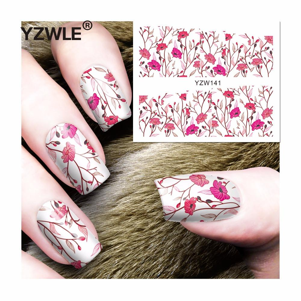 YZWLE 1 Sheets Full Cover Pretty Flower Water Transfer Sticker Nail Art Decals DIY Beauty Decorations Polish Tips-teefury