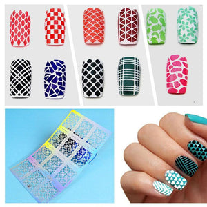 YZWLE 12 Tips/Sheet Laser Nails Vinyls Nail Art Nails Stencil Nail Art Hollow Stickers Decoration Tools Accessories-teefury