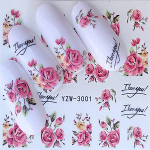 ZKO 1 Sheet Lovely Cartoon Flower Water Slider Nail Decals Sticker DIY Colorful Designs Gel Polish Nail Sticker-teefury