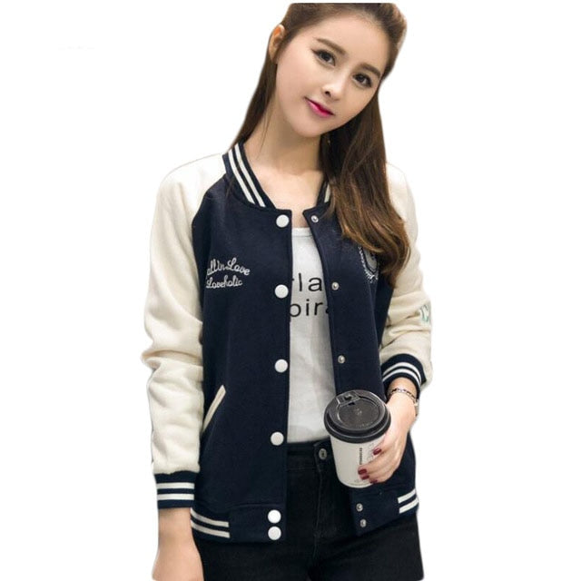 2017 Korean Sweatshirt Baseball Jacket Women Hoodies Coat Female Winter Full Sleeve Sweatshirts Ladies Bomber Jacket E0466-teefury
