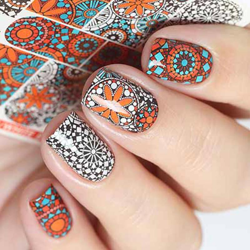 ZKO 1 Sheet Russian Retro Colorful Artistical Printing Designs Full Wraps Nail Art Sticker Water Transfer Manicure Decals-teefury