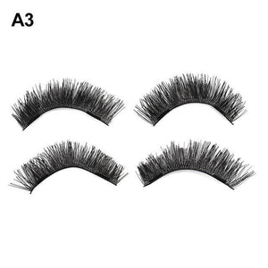 1Set Dual Magnetic False Eyelashes Handmade Reusable False Eye Lashes Black Soft Long Magnet 3D eyelashes Makeup Extension Tools-teefury