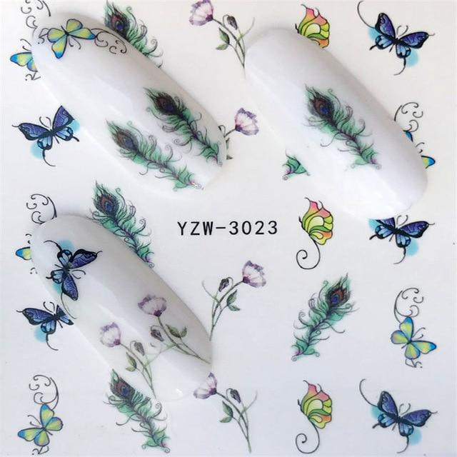 1 Sheet Blue Flower / Butterfly / Dream Catcher Nail Decals for Watermark Manicure Polish Nail Sticker 32 Styles for Choose-teefury