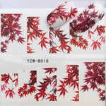 ZKO 31 Styles Red Maple Leaf / Flowers / Animals Nail Art Water Transfer Sticker Decals DIY Tips-teefury