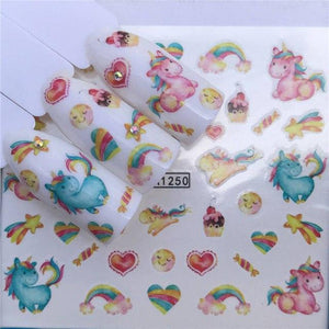 ZKO Mix Summer Butterfly/Flower Fruit/Necklace Jewelry Pattern Nail Stickers Nail Art Water Transfer Stickers Mixed Nail Tips-teefury