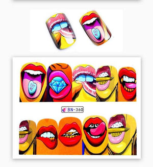 ZKO 1 Sheet 2018 New Nail Fashion Sticker Full Cover Lips Cute Printing Water Transfer Tips Nail Art Decorations-teefury