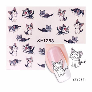 ZKO 1 Sheet Cute Cat Pattern Nail Sticker Water Decals Nail Art Water Transfer Stickers Nails Tools For Nails 1253-teefury