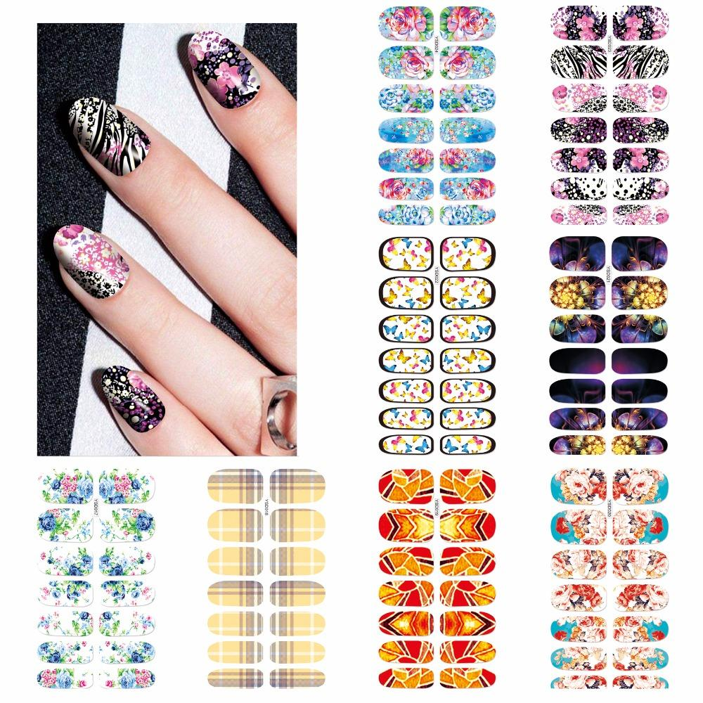 ZKO 1 Sheet Optional Beautiful Full Cover Wraps Nails Decals Water Transfer Nail Art Stickers-teefury