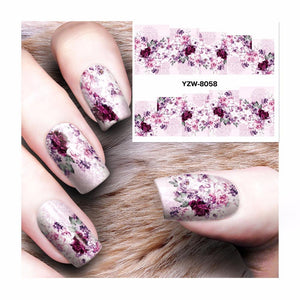 ZKO 1 Sheet Full Cover Flower Designs Nail Art Water Transfer Stickers Decals Nail Decoration Accessories 8058-teefury