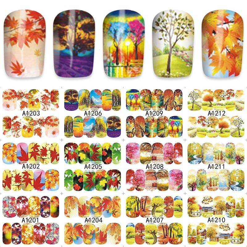 ZKO Autumn Maple Leaf Water Stickers Nails Decoration Decals Nail Tools 12pcs/Lot A1201-1212-teefury