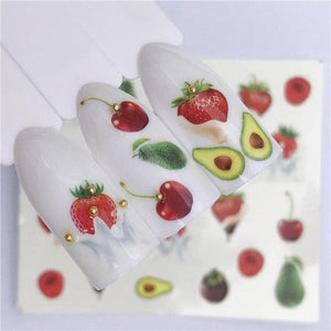 ZKO 26 Styles Summer Fruit Strawberry Cherry Cake Ice Cream Nail Art Water Transfer Sticker Decor Slider Decal Manicure-teefury