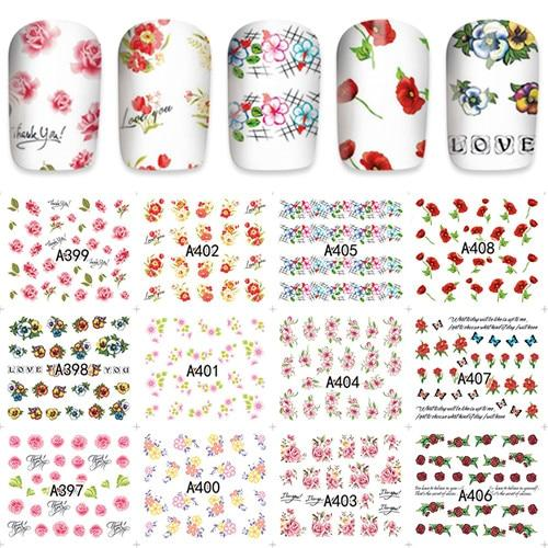 ZKO 12pcs / Sheet Watermark Nail Stickers Mixed Flower Cartoon Nail Art Water Transfer Sticker Decals Nails Wraps Decor-teefury