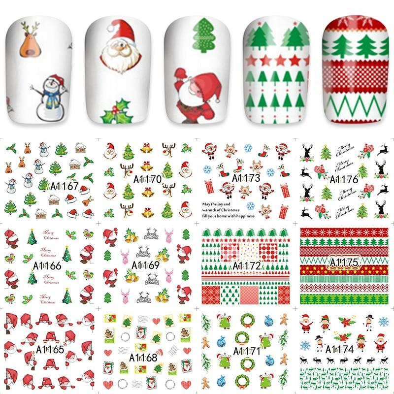 YZWLE 12 Pieces/Set Xmas Christmas Water Transfer Sticker Nail Art Full Foils Wraps New Year Gift DIY Kids Decals A1165-1176-teefury