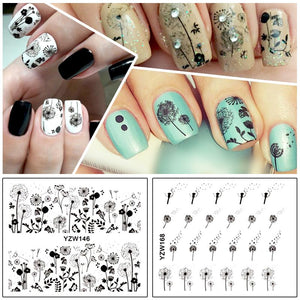 ZKO 2 Patterns/Sheet Flying Dandelion Nail Art Water Decals Transfer Sticker YZW146&168-teefury