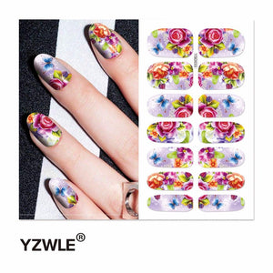 YZWLE 1 Sheet Water Transfer Nails Art Sticker Manicure Decor Tool Cover Nail Wrap Decal (YSD033)-teefury