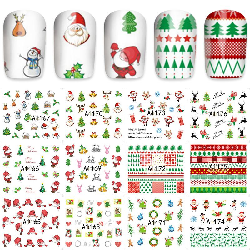 ZKO 12 Pieces/Set Xmas Christmas Water Transfer Sticker Nail Art Full Foils Wraps New Year Gift DIY Kids Decals A1165-1176-teefury