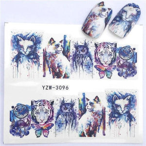 ZKO 2019 NEW Designs Wolf/Vintage/Flamingo Noble Necklace Nail Art Water Decals Transfer Sticker Manicure Nail Decoration-teefury