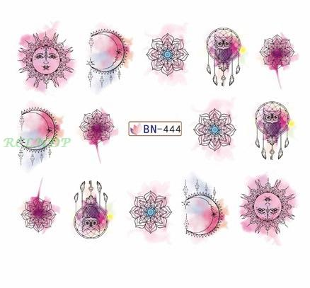 Water sticker for nail art decoration slider watercolor skull halloween crown nail design decal manicure lacquer accessoires 7-teefury