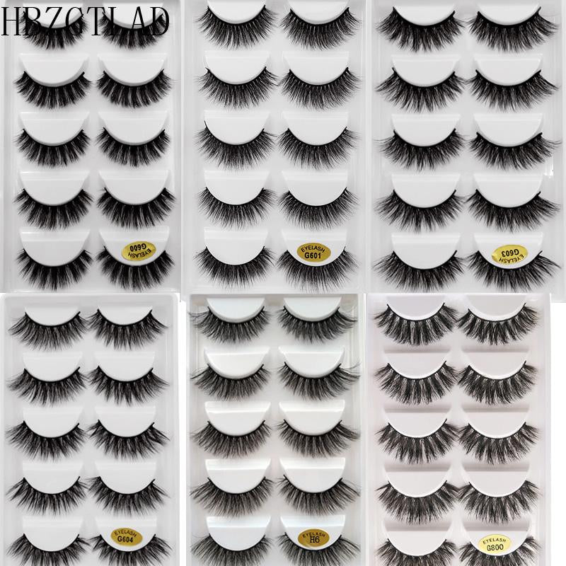 NEW 5 pairs Mink Eyelashes 3D False lashes Thick Crisscross Makeup Eyelash Extension Natural Volume Soft Fake Eye Lashes G800-teefury