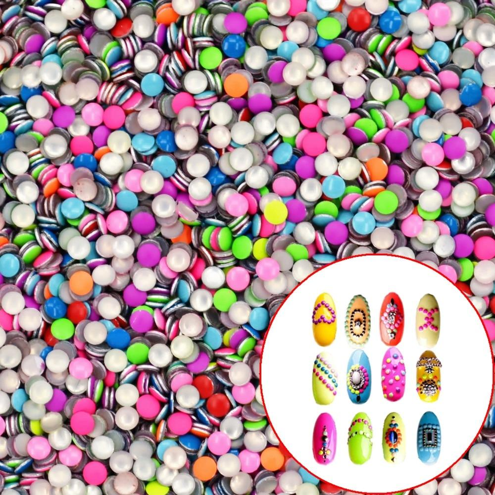 YWK 1 Pack 20Pcs Mix Colors 2mm Round Punk Metal Metallic Rivet Nail Art Decoration For Nails Manicure-teefury