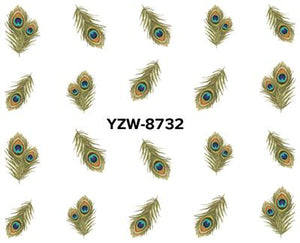 YZWLE 1 Sheet Optional Watermark Nail Stickers Feather Lips Designs Nail Art Water Transfer Sticker Decals Nails Wraps Decor-teefury