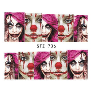 1pcs Water Decals Halloween Design Clown Ghost Slider Water Transfer Sticker Watermark Manicure Nail Art Decoration BESTZ735-754-teefury