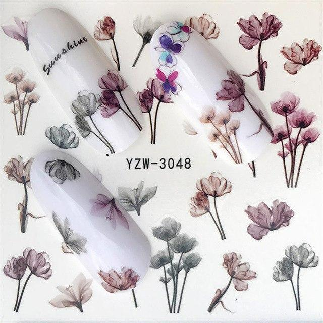 YZWLE Nail Stickers on Nails Blooming Flower Stickers for Nails Lavender Nail Art Water Transfer Stickers Decals-teefury