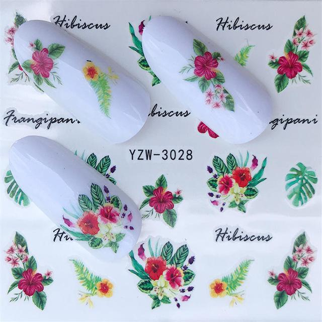 YZWLE 1PC Fashion Harajuku Retro Animal Cat Flora Flower Water Transfer Nail Art Sticker Decal Slider Manicure Tool Tips-teefury