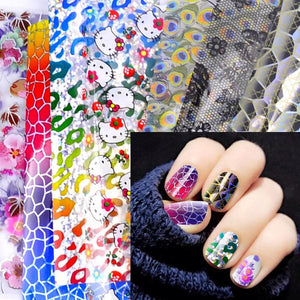YZWLE 20 Designs Nail Art Foils Laser Shinning Mixed Beauty Transfer Tips Sticker Craft DIY Universe Decorations-teefury