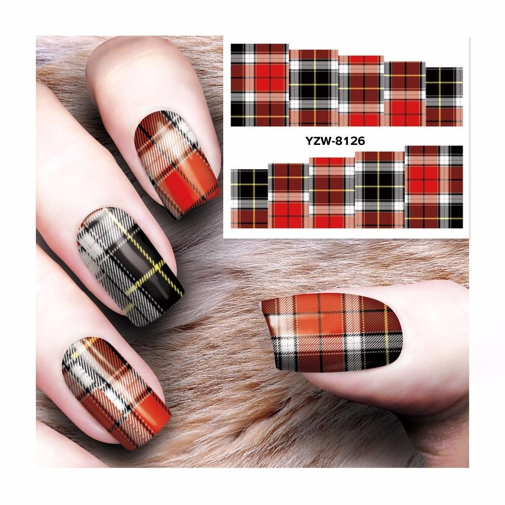 ZKO 1 Sheet Red Black Lattice Designs Nail Art Charm DIY Watermark Decals Nail Art Sticker NEW Polish Decor 8126-teefury