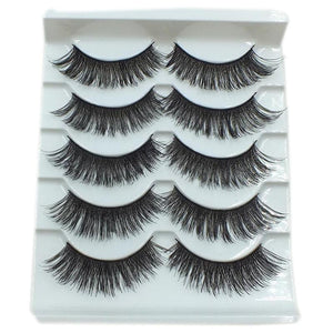 5 Pairs/Set Handmade Black Beauty Long Thick Cross False Eyelashes Big Eyes Fake Eyelashes Makeup Tools-teefury