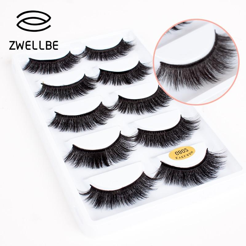 zwellbe 5 pairs Natural Long 3D Mink False Eyelashes Extension Makeup Soft Handmade Lashes Beauty Tools G800 G802 G806-teefury