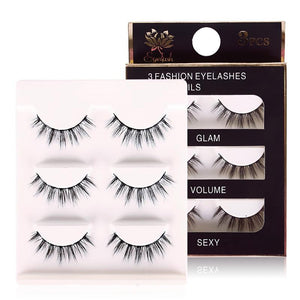 3 Pair False Eyelashes 3D Strip Fake Eye Lashes Extension Tools Long Fake Thick Full Eyelashes #224825-teefury