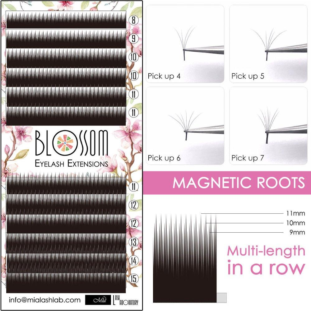 [0.05/007 C/D] Mia Blossom Camellia Lash Volume Eyelash Extension Multi Length Strip Mixed Length Tray, Auto Fan, Easy Volume-teefury