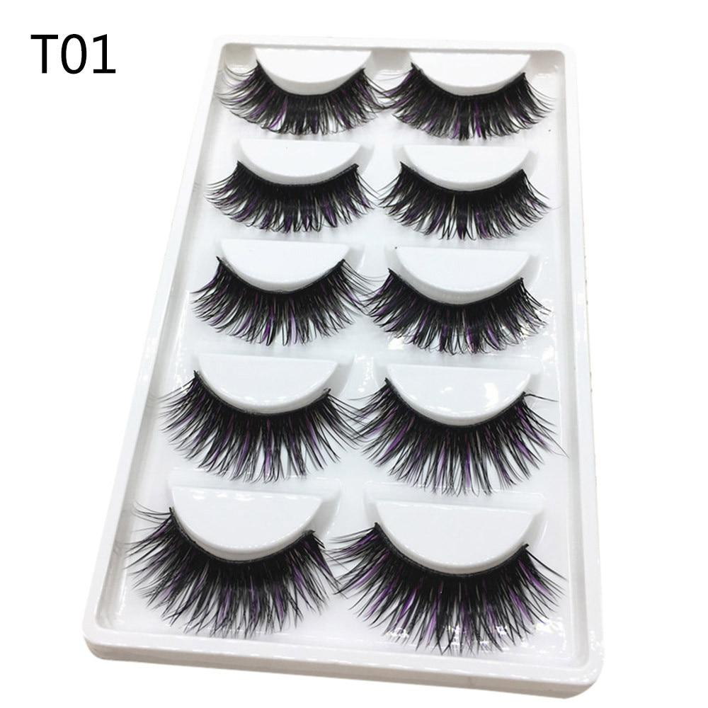 #5001 Fahion High Quality Eye Lash Luxury 3D False Lashes Fluffy Strip Eyelashes Long Natural Party-teefury