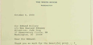 Sir Edmund Hillary Signs Print For President Clinton