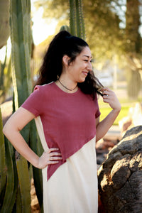 Catlyn Linen Burgundy Color Block Dress