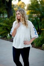 Rebecca,  Embroidered Flutter Sleeve Blouse Top